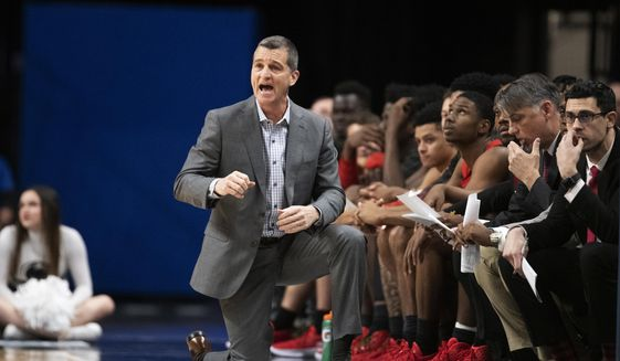 Maryland head coach Mark Turgeon reacts to a call in the first half of an NCAA college basketball game against Penn State in State College, Pa., on Tuesday, Dec. 10, 2019. (AP Photo/Barry Reeger)  **FILE**