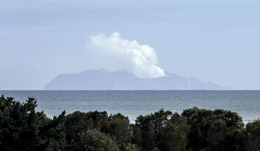 Plumes of steam rise above White Island off the coast of Whakatane, New Zealand, Wednesday, Dec. 11, 2019. Survivors of a powerful volcanic eruption in New Zealand on Monday Dec. 9 ran into the sea to escape the scalding steam and ash and emerged covered in burns, say those who first helped them.(AP Photo/Mark Baker)