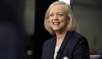 FILE - In this Nov. 2, 2015 file photo, Meg Whitman is interviewed on the floor of the New York Stock Exchange. MLS soccer club FC Cincinnati's newest owner Meg Whitman was introduced during a news conference Monday, Dec. 9, 2019. (AP Photo/Richard Drew, File)