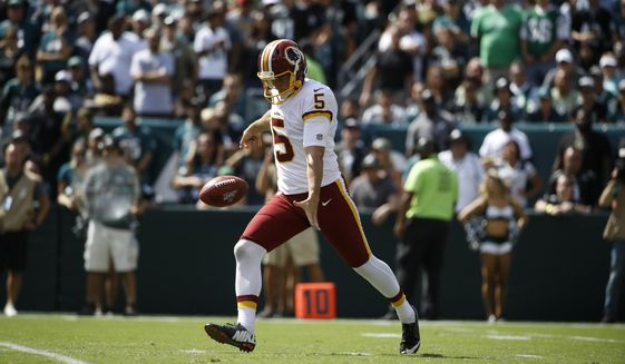 In this Sept. 8, 2019, file photo, Washington Redskins punter Tress Way is shown during an NFL football game, in Philadelphia. A popular Redskins podcast is trying to send Washington punter Tress Way to the Pro Bowl. Way leads all NFC punters in net yards and has pinned opponents inside the 20-yard line 24 times this season. (AP Photo/Matt Rourke, File)