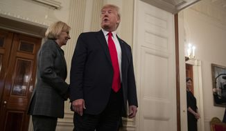 Secretary of Education Betsy DeVos follows President Donald Trump as they leave NCAA Collegiate National Champions Day at the White House, Friday, Nov. 22, 2019, in Washington. (AP Photo/ Evan Vucci)