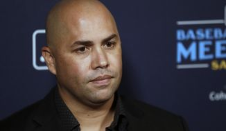 New York Mets manager Carlos Beltran listens to a question during the Major League Baseball winter meetings, Tuesday, Dec. 10, 2019, in San Diego. (AP Photo/Gregory Bull) ** FILE **