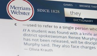 """The word """"they"""" is displayed on a computer screen on Friday, Dec. 6, 2019, in New York. The language mavens at Merriam-Webster have declared the personal pronoun their word of the year based on a 313 percent increase in look-ups on the company's search site, Merriam-Webster.com, this year when compared with 2018. Merriam-Webster recently added a new definition to its online dictionary to reflect use of """"they"""" as relating to a person whose gender identity is nonbinary.(AP Photo/Jenny Kane)"""