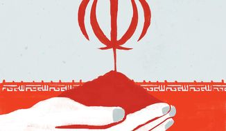 Illustration on future Iran policy by Linas Garsys/The Washington Times