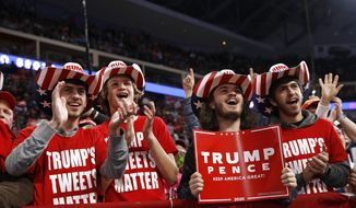 Supporters of President Donald Trump cheer during a campaign rally, Tuesday, Dec. 10, 2019,in Hershey, Pa. (AP Photo/Patrick Semansky)