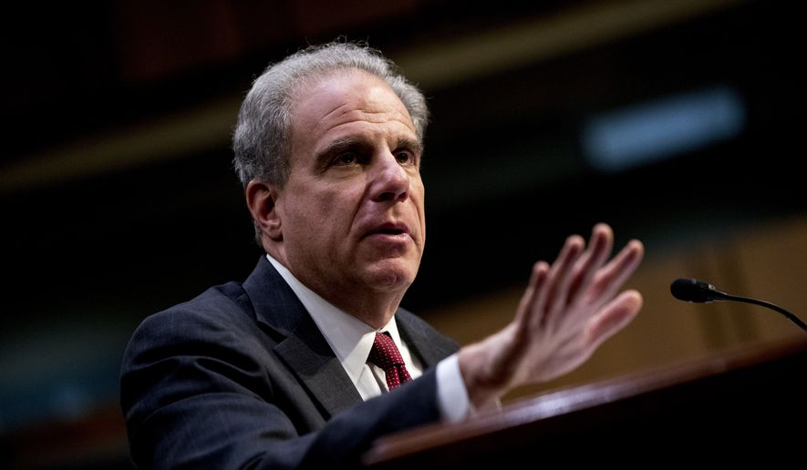 Department of Justice Inspector General Michael Horowitz testifies at a Senate Judiciary Committee hearing on the Inspector General's report on alleged abuses of the Foreign Intelligence Surveillance Act, Wednesday, Dec. 11, 2019, on Capitol Hill in Washington. (AP Photo/Andrew Harnik) ** FILE **