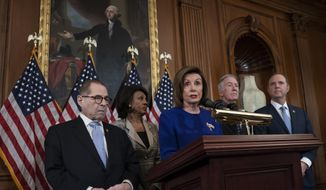 Speaker of the House Nancy Pelosi, D-Calif., joined from left by House Judiciary Committee Chairman Jerrold Nadler, D-N.Y., House Financial Services Committee Chairwoman Maxine Waters, D-Calif., House Ways and Means Committee Chairman Richard Neal, D-Mass., and House Intelligence Committee Chairman Adam Schiff, D-Calif., unveils articles of impeachment against President Donald Trump, abuse of power and obstruction of Congress, at the Capitol in Washington, Tuesday, Dec. 10, 2019. (AP Photo/J. Scott Applewhite)