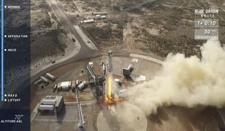 In this image taken from video provided by Blue Origin, the New Shepard rocket takes off near Van Horn, Texas. Blue Origin, Jeff Bezos' space company, has scored another successful spaceflight, when it launched and landed the same rocket for the sixth time Wednesday. (Blue Origin via AP)
