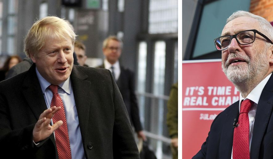This combo photo shows at left, Britain's Prime Minister Boris Johnson arrives to board a train in London, Friday Dec. 6, 2019, and at right, Britain's Labour Party leader Jeremy Corbyn speaks during a press conference in London, Friday, Dec. 6, 2019.  The upcoming Dec. 12 General Election sees the two main political parties calling for different ways of dealing with Britain's Brexit split from Europe. (AP Photo combo)