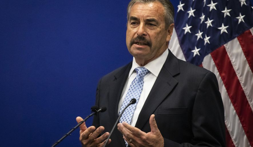 Chicago Police interim Superintendent Charlie Beck speaks during a press conference at police headquarters, Tuesday morning, Dec. 3, 2019 in Chicago. Beck says he's getting oriented in the job, a day after Superintendent Eddie Johnson was fired and he took over the post. (Ashlee Rezin Garcia/Chicago Sun-Times via AP)