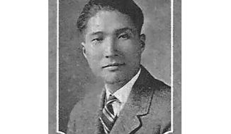 This photo provided by University of Missouri shows Yin-Chih Jao from the 1923 & 1924 Savitar Yearbook. The Associated Press has recognized the sacrifice of Yin-Chih Jao, a journalist in China by installing his name Wednesday, Dec. 11, 2019 on its memorial Wall of Honor. Jao was a correspondent working for the AP in China at the time of the Communist Red Army's victory over Nationalist forces and its conquest of China. Jao continued to work for AP in Nanjing even after American correspondents were evicted from the country. His passion for journalism led to his execution in 1951.  (University of Missouri via AP)