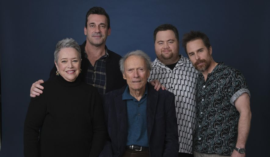 "This Dec. 5, 2019 photo shows director Clint Eastwood, center, posing with cast members, from left, Kathy Bates, Jon Hamm, Paul Walter Hauser and Sam Rockwell during a portrait session to promote their film ""Richard Jewell"" at the Four Seasons Hotel in Beverly Hills, Calif. (AP Photo/Chris Pizzello)"