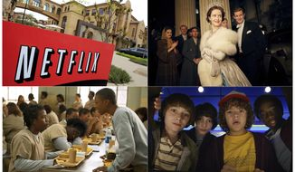 """This combination photo shows, clockwise from top left, Netflix headquarters in Los Gatos, Calif., Claire Foy and Matt Smith in a scene from """"The Crown,"""" Noah Schnapp, Finn Wolfhard, Gaten Matarazzo and Caleb Mclaughlin in a scene from """"Stranger Things,"""" and Uzo Aduba, left, and Samira Wiley appear in a scene from """"Orange is the New Black.""""  It took less than a decade for leader Netflix to skyrocket from about 12 million U.S. subscribers at the decade's start to 60 million this year and 158 million worldwide. (AP Photo, top left, and Netflix via AP)"""