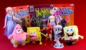 Gift ideas for action-figure ' fans include Retro Wolverine, SpongeGar Meme, Mini Plush Patrick, Old-Timey SpongeBob, 80th Anniversary Iron Man, Singing Elsa and Singing JoJo Siwa (Photograph by Joseph Szadkowski / The Washington Times)