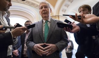 Senate Majority Leader Mitch McConnell, R-Ky., pauses outside the chamber to speak to reporters when asked about the race for Kentucky governor, at the Capitol in Washington, Wednesday, Nov. 6, 2019. The race for governor in deeply Republican Kentucky was too close to call despite a last-minute boost from President Donald Trump. (AP Photo/J. Scott Applewhite)