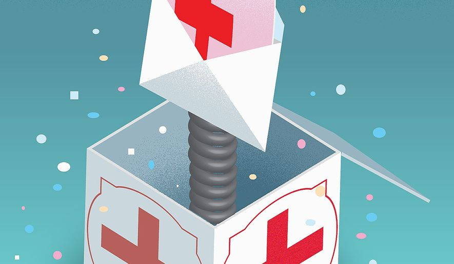 Illustration on surprise medical billing by Linas Garsys/The Washington Times