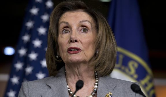 Speaker of the House Nancy Pelosi, D-Calif., speaks during her weekly news conference on Capitol Hill, Thursday, Dec. 12, 2019, in Washington. (AP Photo/Jose Luis Magana)