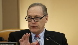 In this Dec. 12, 2019, file photo, Rep. Andy Biggs, R-Ariz., speaks during a House Judiciary Committee meeting. (AP Photo/Alex Brandon)  **FILE**