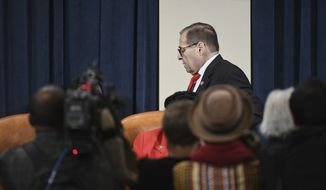 House Judiciary Committee Chairman Rep. Jerry Nadler, D-N.Y., leaves the hearing room during a committee break of the House Judiciary Committee markup of Articles of Impeachment against President Donald Trump, Thursday Dec. 12, 2019 on Capitol Hill in Washington. (Matt McClain/The Washington Post via AP, Pool)
