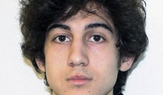 FILE - This file photo released April 19, 2013, by the Federal Bureau of Investigation shows Dzhokhar Tsarnaev, convicted of carrying out the April 2013 Boston Marathon bombing attack. A federal court is hearing arguments Thursday, Dec. 12, 2019, in Boston Marathon bomber Dzhokhar Tsarnaev's death sentence appeal. Tsarnaev's lawyers argue it was impossible to find a fair jury in Boston because the explosions traumatized the region. They're trying to get his death sentence overturned.  (FBI via AP, File)