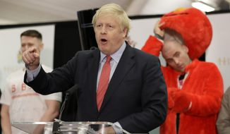 Bobby Smith, a political and fathers' rights activist and founder and leader of the 'Give Me Back Elmo' party watches as Britain's Prime Minister and Conservative Party leader Boris Johnson speaks after the Uxbridge and South Ruislip constituency count declaration at Brunel University in Uxbridge, London, Friday, Dec. 13, 2019. (AP Photo/Kirsty Wigglesworth)