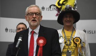 British opposition Labour Party leader Jeremy Corbyn speaks during the declaration of his seat in the 2019 general election in Islington, London, Friday, Dec. 13, 2019. The first handful of results to be declared in Britain's election are showing a surge in support for to the Conservatives in northern England seats where Labour has long been dominant. (AP Photo/Alberto Pezzali)