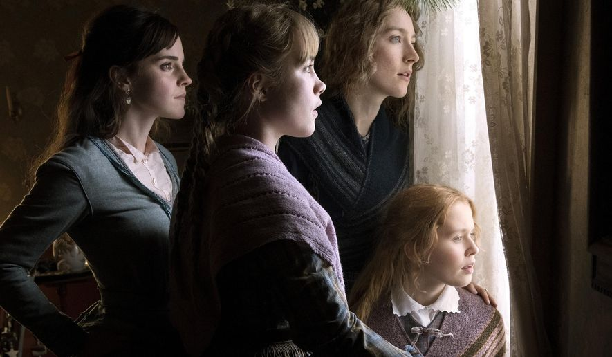"""This image released by Sony Pictures shows, Emma Watson, from left, Florence Pugh, Saoirse Ronan and Eliza Scanlen in a scene from """"Little Women."""" (Wilson Webb/Sony Pictures via AP)"""