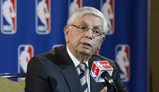 In this Wednesday, May 15, 2013, file photo, then-NBA Commissioner David Stern takes a question from a reporter during a news conference following an NBA Board of Governors meeting in Dallas. (AP Photo/Tony Gutierrez) ** FILE **