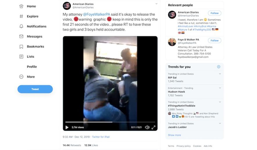 A Florida boy from Hamilton County is attacked on a school bus, Nov. 21, 2019. The boy's mother told The New York post on Dec. 13 that his attackers reacted to a hat he wore in support of President Trump. Footage of the beating was viewed nearly 4 million times in less than 24 hours. (Image: Twitter, American Diaries video screenshot)