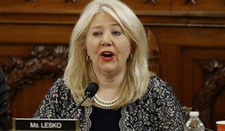 Rep. Debbie Lesko, R-Ariz., votes no on the first article of impeachment against President Donald Trump during a House Judiciary Committee meeting, Friday, Dec. 13, 2019, on Capitol Hill in Washington. (AP Photo/Patrick Semansky, Pool)