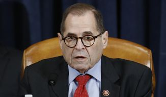 House Judiciary Committee Chairman Rep. Jerrold Nadler, D-N.Y., speaks during a House Judiciary Committee markup of the articles of impeachment against President Donald Trump, Friday, Dec. 13, 2019, on Capitol Hill in Washington. (AP Photo/Patrick Semansky, Pool) ** FILE **