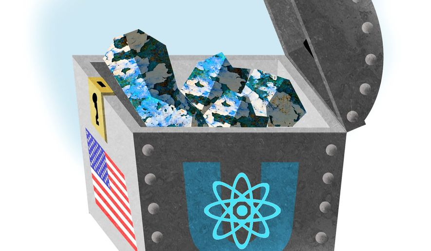 Illustration on the U.S. uranium reserve by Alexander Hunter/The Washington Times