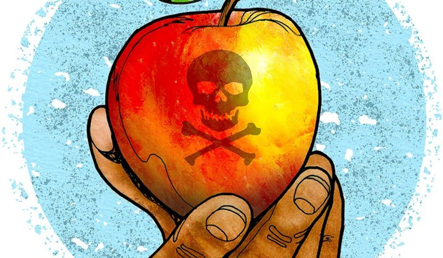 College Students Poison Fruit Illustration by Greg Groesch/The Washington Times