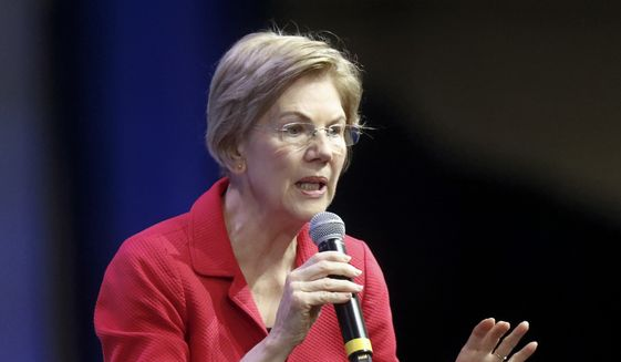 Democratic presidential candidate Sen. Elizabeth Warren, D-Mass, one of seven scheduled Democratic candidates participating in a public education forum, makes an opening statement, Saturday, Dec. 14, 2019, in Pittsburgh. Topics at the event planned for discussion ranged from student services and special education to education equity and justice issues. (AP Photo/Keith Srakocic)