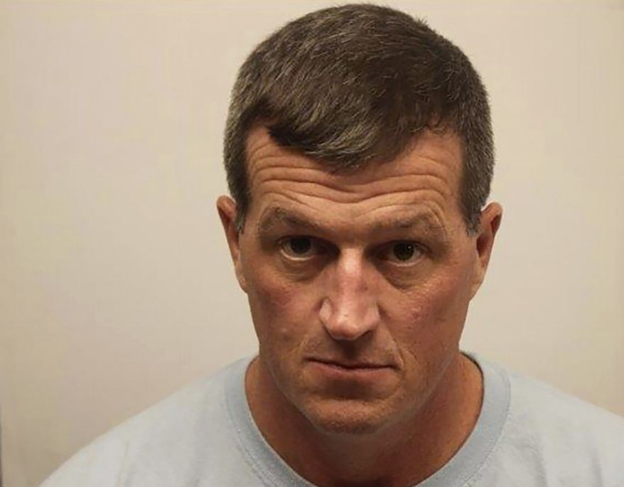 In this undated photo provided by Chatham County Sheriff's Department is Thomas Callaway, 43, of Statesboro, Ga., who was videotaped slapping a female reporter's rear on live TV and was arrested Friday, Dec. 13, 2019, on a misdemeanor charge of sexual battery. He was charged in connection with the incident that occurred while WSAV-TV reporter Alex Bozarjian was broadcasting live Dec. 7, as runners streamed past her on a prominent bridge in Savannah. Callaway's attorney declined comment Friday. (Chatham County Sheriff's Dept. via AP)