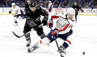 Washington Capitals right wing Richard Panik (14) moves the puck in front of Tampa Bay Lightning defenseman Kevin Shattenkirk (22) during the first period of an NHL hockey game Saturday, Dec. 14, 2019, in Tampa, Fla. (AP Photo/Chris O'Meara)