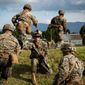 U.S. Marine Staff Sgt. Thomas R. Sterett takes accountability of Marines boarding U.S. Army Sikorsky UH-60 Black Hawks during Black Hawk integration training as part of exercise Fuji Viper 20-1 on Camp Fuji, Japan, Oct. 28, 2019. Fuji Viper is a regularly scheduled training evolution for infantry units assigned to 3rd Marine Division as part of the unit deployment program. The training allows units to maintain their lethality and proficiency in infantry and combined arms tactics. Sterett is assigned to 4th Marine Regiment, 3rd Marine Division, and a native of Town Falls, Idaho. (U.S. Marine Corps photo by Cpl. Timothy Hernandez)
