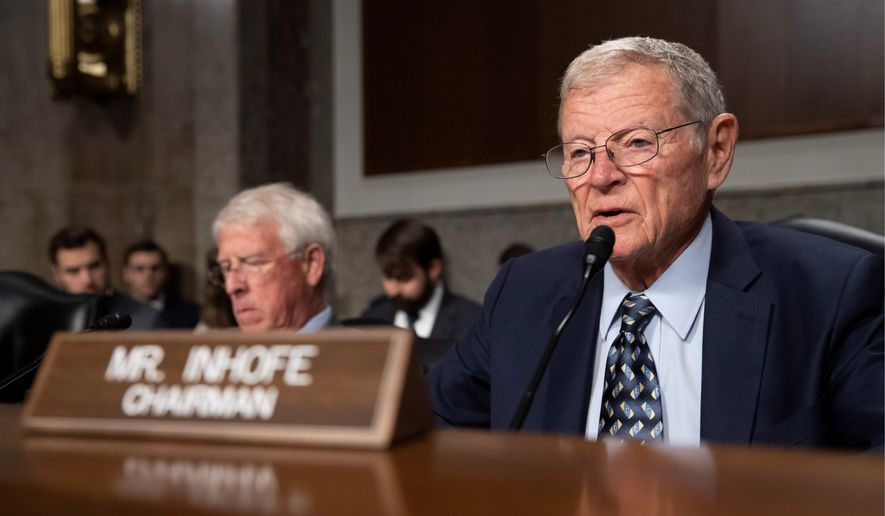 Senate Armed Services Committee Chairman Jim Inhofe, of Oklahoma, speaks during a hearing of the Senate Armed Services Committee about about ongoing reports of substandard housing conditions Tuesday, Dec. 3, 2019 in Washington, on Capitol Hill. (AP Photo/Alex Brandon)