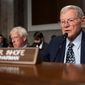 Senate Armed Services Committee Chairman Jim Inhofe, of Oklahoma, speaks during a hearing of the Senate Armed Services Committee in Washington, on Capitol Hill, in this Tuesday, Dec. 3, 2019 file photo.  (AP Photo/Alex Brandon) **FILE**