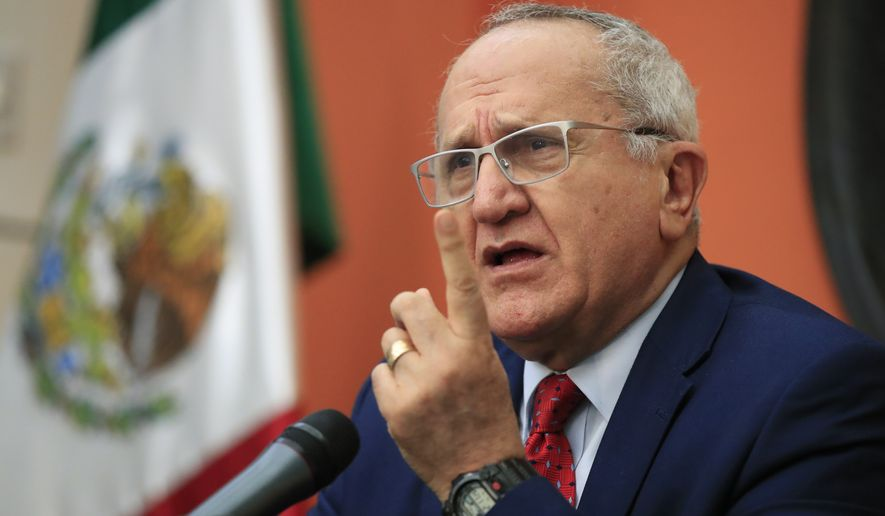 Mexico Undersecretary for North America in Mexico's Ministry of Foreign Affair's Jesus Seade speaks during a news conference at the Mexican Embassy in Washington, Thursday, April 4, 2019. (AP Photo/Manuel Balce Ceneta)