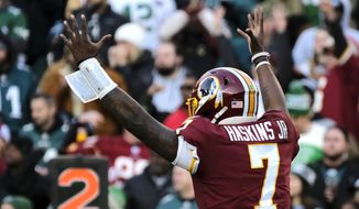 Redskins quarterback Dwayne Haskins celebrates during an NFL football game between the Philadelphia Eagles and Washington Redskins, Sunday, Dec. 15, 2019, in Landover, Md. (AP Photo/Mark Tenally)
