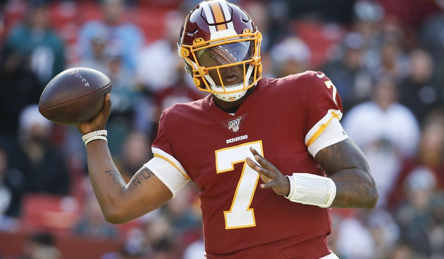 Washington Redskins quarterback Dwayne Haskins (7) looks to pass the ball against the Philadelphia Eagles in the first half of an NFL football game, Sunday, Dec. 15, 2019, in Landover, Md. (AP Photo/Alex Brandon)