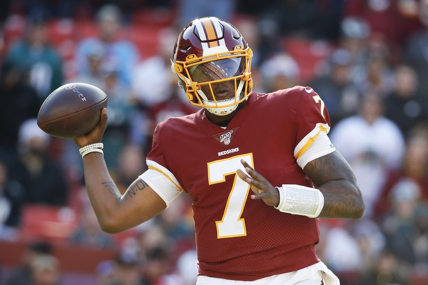 Washington Redskins quarterback Dwayne Haskins (7) looks to pass the ball against the Philadelphia Eagles in the first half of an NFL football game, Sunday, Dec. 15, 2019, in Landover, Md. (AP Photo/Alex Brandon) ** FILE **