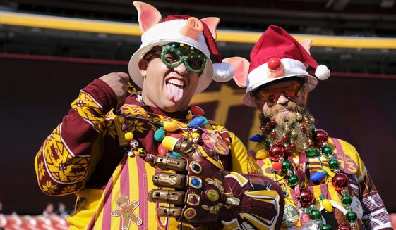 Fans Chris Bryant, left, from Staunton, Va., and Jeff Rinehart Jr., from Virginia Beach, Va., in the stands before the start of an NFL football game between the Washington Redskins and the Philadelphia Eagles, Sunday, Dec. 15, 2019, in Landover, Md. (AP Photo/Mark Tenally)