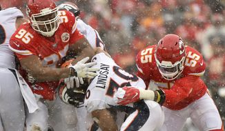 Kansas City Chiefs defensive tackle Chris Jones (95) and defensive end Frank Clark (55) tackle Denver Broncos running back Phillip Lindsay (30) during the first half of an NFL football game in Kansas City, Mo., Sunday, Dec. 15, 2019. (AP Photo/Ed Zurga)