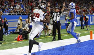 Tampa Bay Buccaneers wide receiver Breshad Perriman (19) crosses into the end zone for a touchdown during the first half of an NFL football game against the Detroit Lions, Sunday, Dec. 15, 2019, in Detroit. (AP Photo/Paul Sancya)