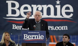 Democratic presidential candidate Sen. Bernie Sanders, I-Vt., speaks during a meeting with minor league baseball players and officials at FunCity Turf, Sunday, Dec. 15, 2019, in Burlington, Iowa. (AP Photo/Charlie Neibergall)