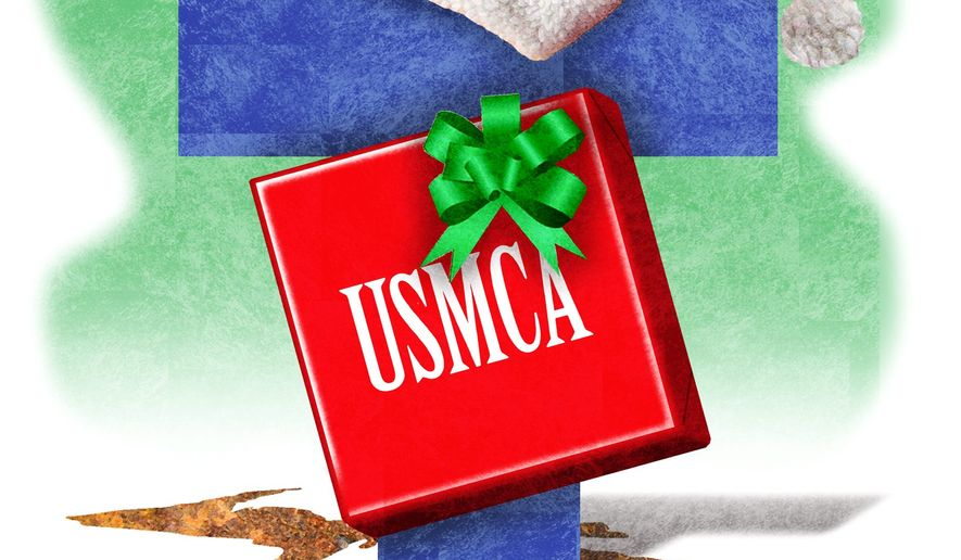Illustration on Trump and the USMCA by Alexander Hunter/The Washington Times