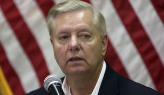 Sen. Lindsey Graham speaks during a press conference at the Resolute Support headquarters in Kabul, Afghanistan, Monday, Dec. 16, 2019. In a surprise visit to Afghanistan, (AP Photo/Rahmat Gul) ** FILE **