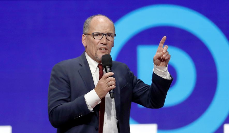 In this Tuesday, Oct. 15, 2019, file photo, Tom Perez speaks before a Democratic presidential primary debate hosted by CNN/New York Times at Otterbein University, in Westerville, Ohio. (AP Photo/John Minchillo, File)  **FILE**